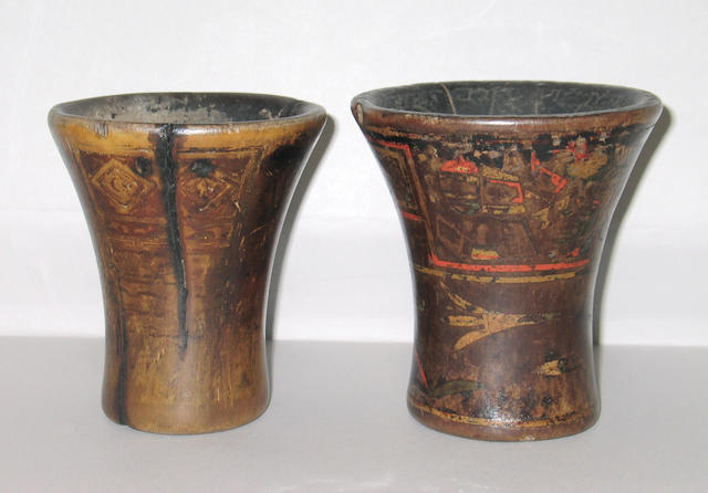 Two Inca wood keros from the Spanish Colonial period