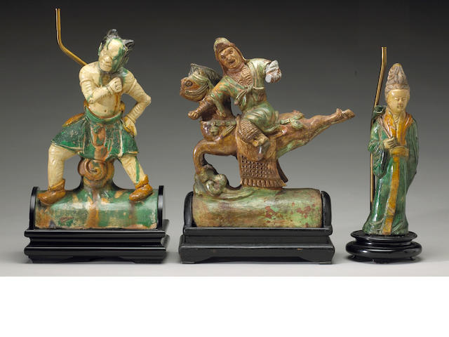 Three Ming style glazed pottery ridge tiles, Circa 1880