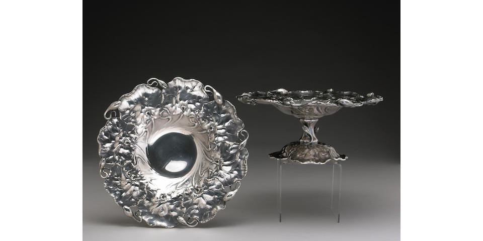Sterling Pair of Dessert Stands in the Art Nouveau Taste by Shreve & Co.
