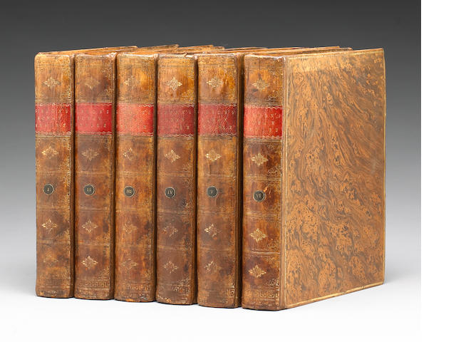 Gibbon,Edward. The History of the Decline and Fall of theRoman Empire. Lond.,W.Strahan,1776-1788. 6 vols. Ist ed.4to, rebacked acid-washed calf. Engraved maps, 1/2-titles,VG .