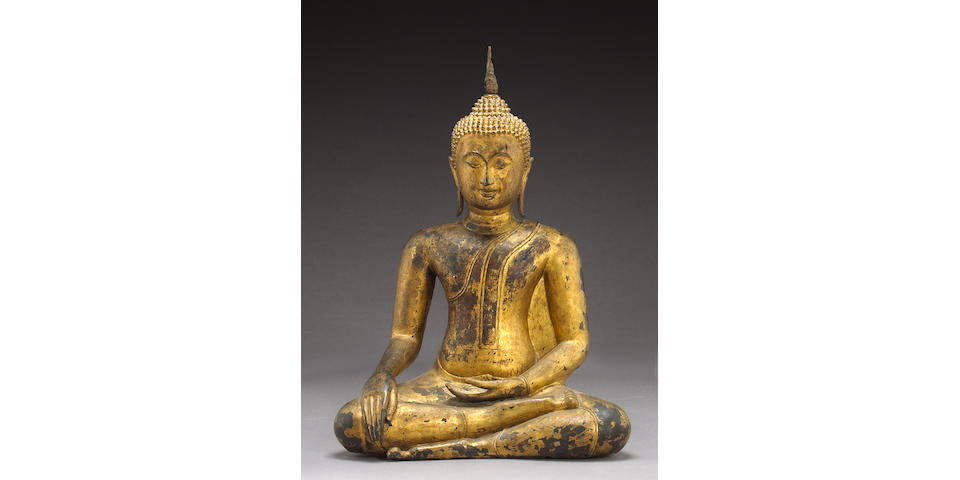 A large Thai gilt lacquered bronze seated figure of Buddha