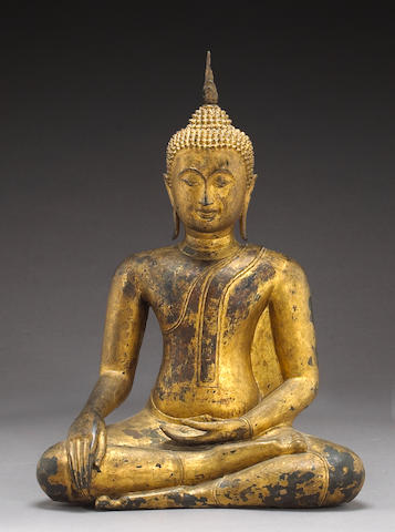 A large Thai gilt lacquered bronze seated Buddha