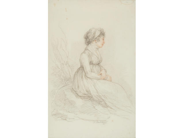 Francesco Bartolozzi (Italian 1727-1815) Portrait of Queen Caroline seated on a rock 15 3/8 x 9 7/8in (39.1 x 25.2cm)