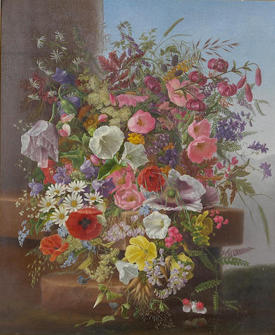 Adelheid Dietrich (1827-1891) A Still Life of Wild Flowers on a Stone Ledge, 1877 24 x 20in