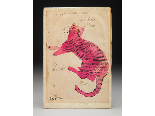 "WARHOL, ANDY. 25 Cats Named Sam and One Blue Pussy. Limited Edition of 190, signed and incribed by the author. Numbered ""5"". Consignor worked at I.Miller in late 1950s when Warhol was hired to design Co.s Sunday ads in the Times, Hired by Peter Palazzo, Gift of the author to consignor and other execs."