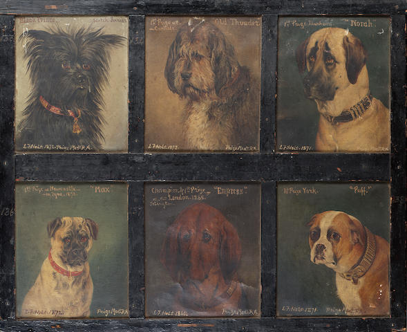 Edwin Frederick Holt (British 19th Century) Twelve dogs six 6 1/2 x 5 in. (16.5 x 12.5 cm.), six 6 3/4 x 5 3/4 in. (17 x 14.5 cm.) in two frames.
