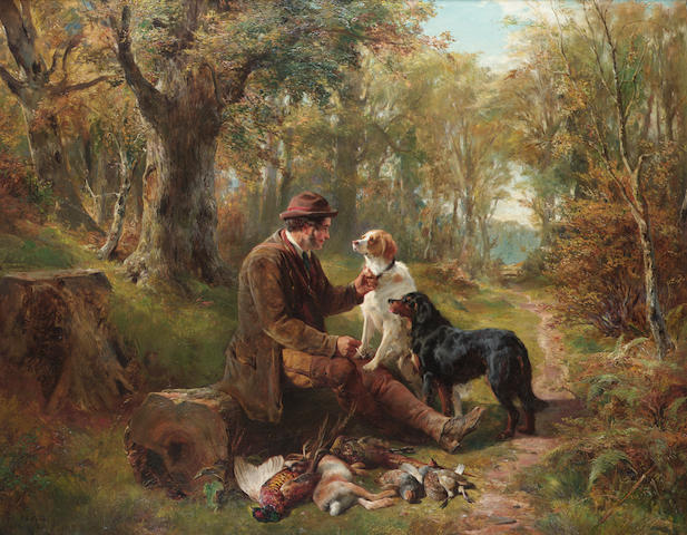 John Sargent Noble (British 1848-1896) The gamekeeper's companions 28 x 36 in. (71 x 91.5 cm.)