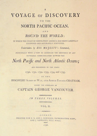 Vancouver,George. A Voyage of Discovery to the North PacificOcean and Round the World. Lond.,Robinson,1798. 3 vols.18 plates. Rebacked, hinges broken. Smith 10469. With: a facsimile of the atlas volume to this set,  Charts to Vancouver.[Spine title] Folio volume is a facsimile. Reproduced by the Replika Process by Percy Lund Humphries ... from an Original in the Possession of Henry Stevens...of London. 16 folding
