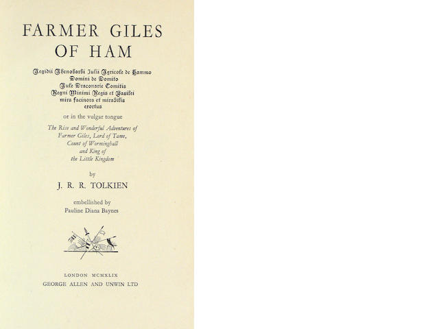 TOLKIEN. Farmer Giles of Ham. UK 1st.