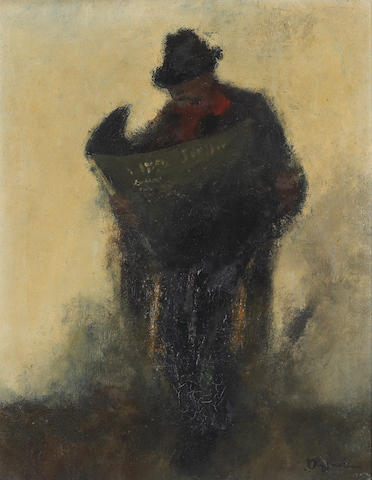 Jan Rijlaarsdam, 'Street Players' mixed/paper and 'The Newspaper' o/c (Dutch b.1911)
