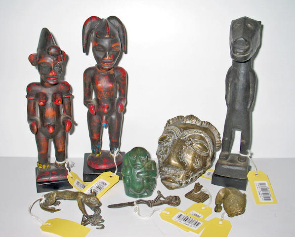 A group of African items: bronzes (5), stone figure, wood figures (3)