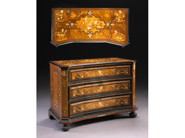 An Italian Baroque walnut and marquetry chest