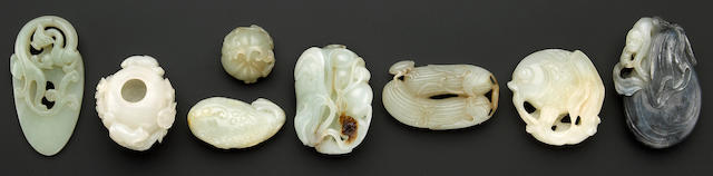 Eight nephrite toggles and decorations Qing Dynasty and Later