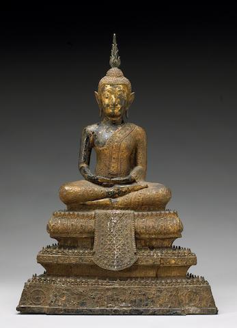 A Thai Bangkok style gilt lacquered bronze Buddha