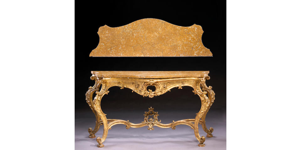 An Italian Rococo carved giltwood console table