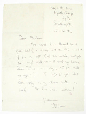 LAWRENCE, THOMAS EDWARD (T.E.)<br><I>LETTER MENTIONING THE SEVEN PILLARS.</I>