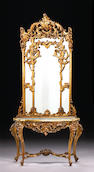 An Italian Rococo style carved giltwood console table and mirror