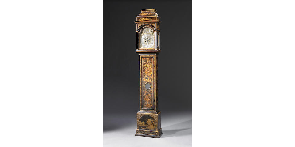 A George II black lacquered tall case clock