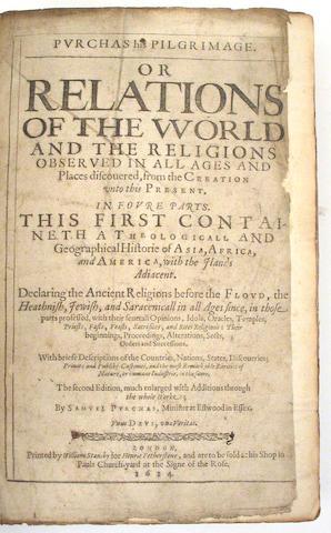 PURCHAS, SAMUEL.  1575?-1626.