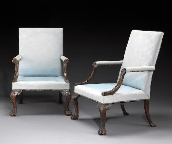 A pair of late George II/ early George III mahogany upholstered library armchairs, circa 1760's
