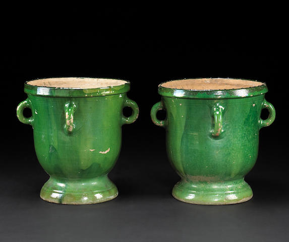 A pair of French glazed terracotta jardinières