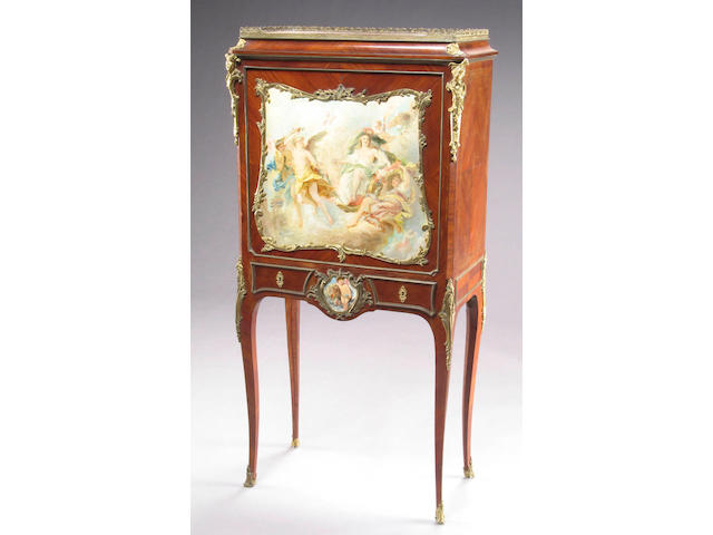 A Louis XV style gilt bronze mounted and paint decorated secretaire a abbatant