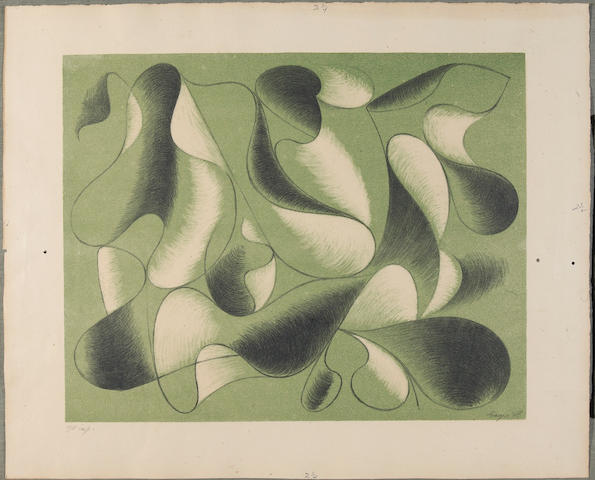 Herbert Bayer Seven Convolutions 1948 portfolio of (7) lithographs with title page