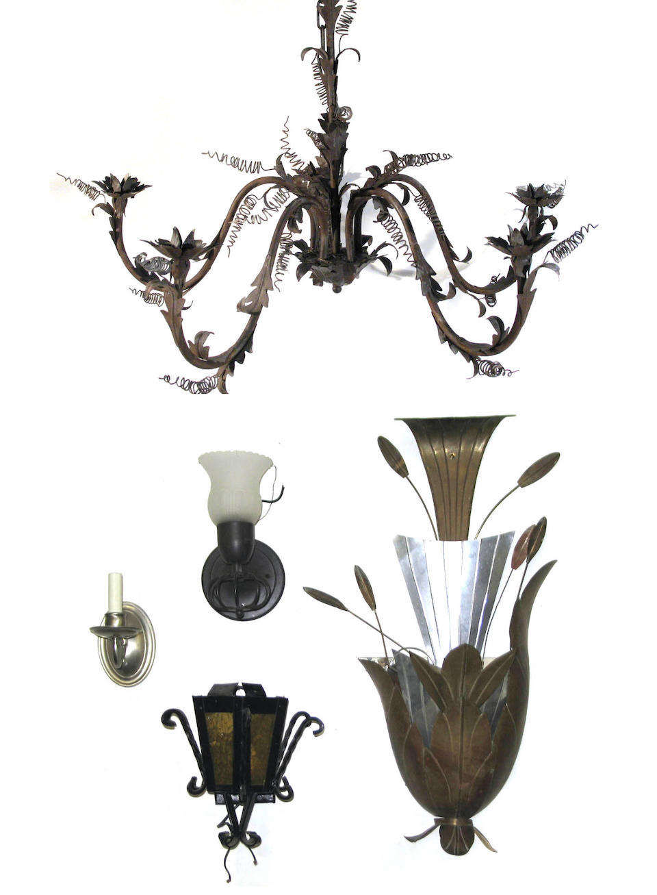 A group of sconces in various media