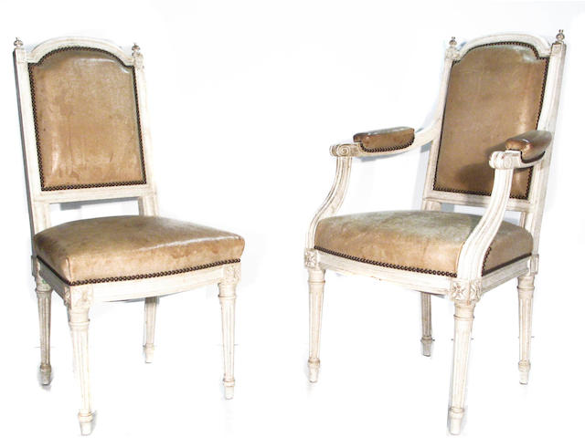 A set of ten Louis XVI style paint decorated dining chairs