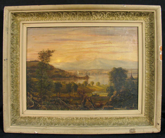 A. Phelan (American 20th century) A Train passing through a Mountainous Landscape with a Lake 12 1/2 x 17in
