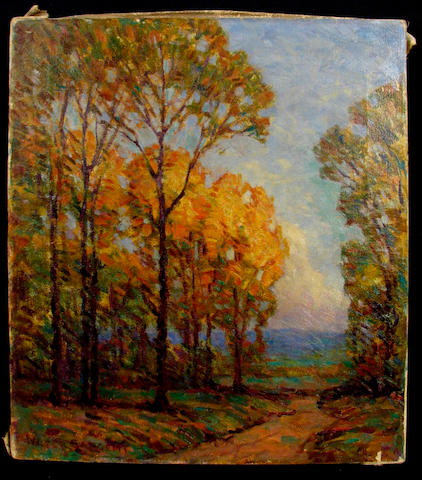 Walter Sargent (American 1868-1927) Autumn Trees by a Path 18 x 16 1/4in
