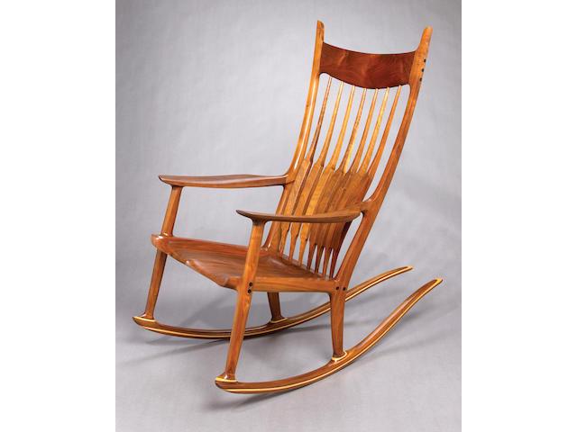 A Sam Maloof inlaid walnut rocking chair