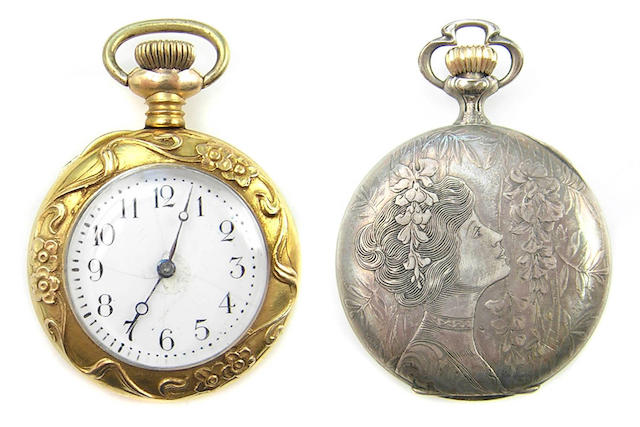 A collection of silver and metal pocket and pendant watches