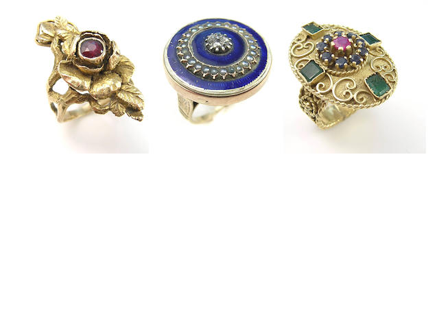 A collection of diamond, gemstone, pearl, enamel and yellow gold rings