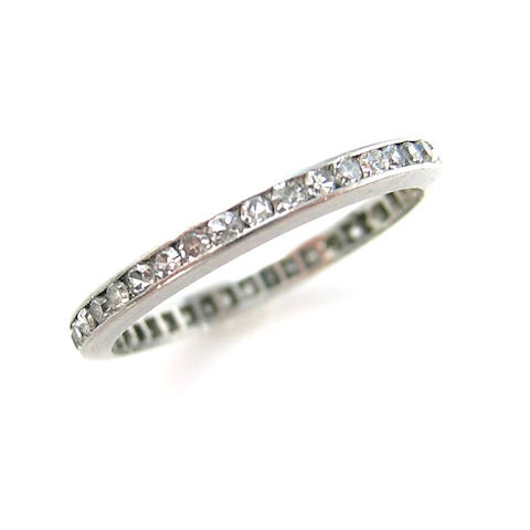 A diamond and platinum eternity band