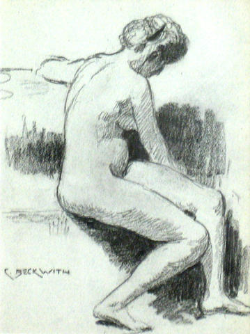 James Carroll Beckwith (American 1852-1917) A seated female nude 12 1/2 x 9 1/4in