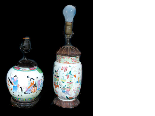 A group of two Chinese porcelain vases now mounted as lamps