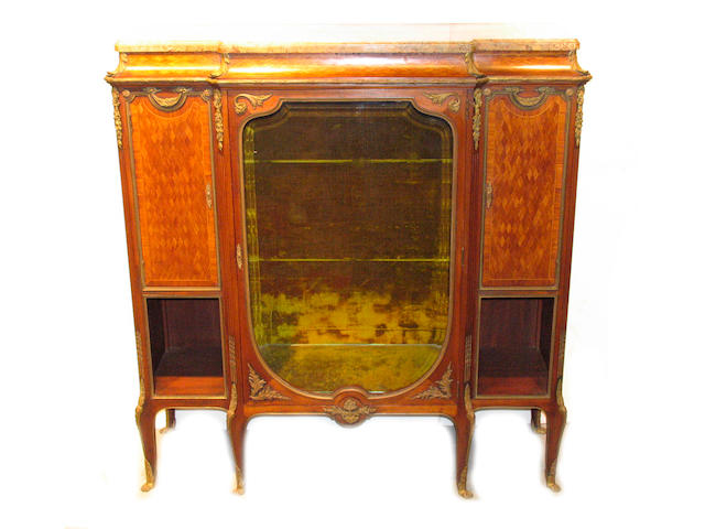 A Louis XV style gilt bronze mounted and parquetry inlaid vitrine