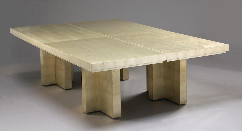 A set of four Karl Springer silvered wood tables