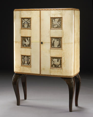 An Italian parchment cabinet