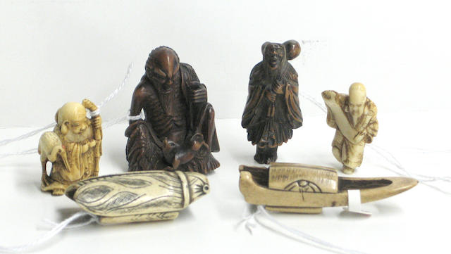 Eight wood, ivory and stag antler netsuke