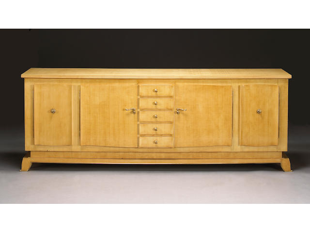 A Jules Leleu gilt-bronze-mounted sycamore sideboard