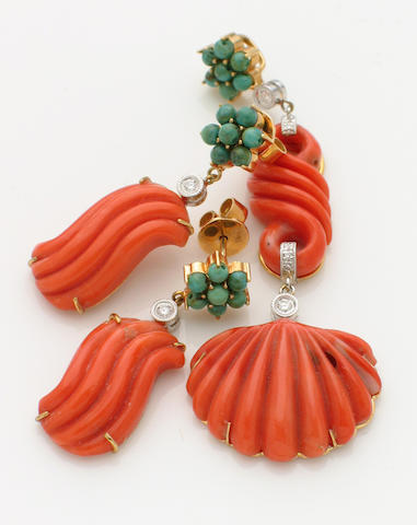 A set of coral, diamond, turquoise and 18k gold pendant and pair of earrings