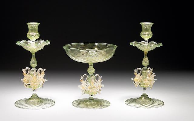 A Venetian glass three piece table garniture