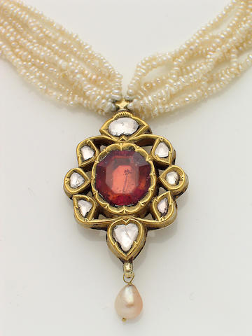 A spinel, diamond, seed pearl and high karat gold pendant-necklace
