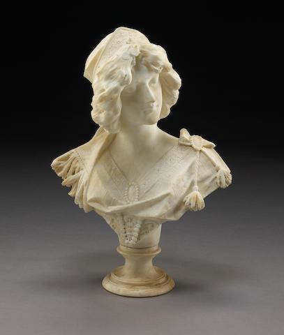 An Art Nouveau alabaster bust of a young maiden