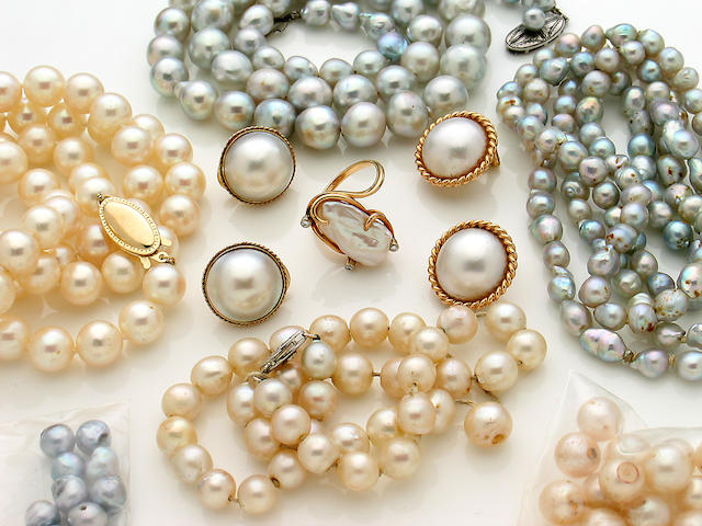 A collection of cultured pearl, 14k gold and silver jewelry