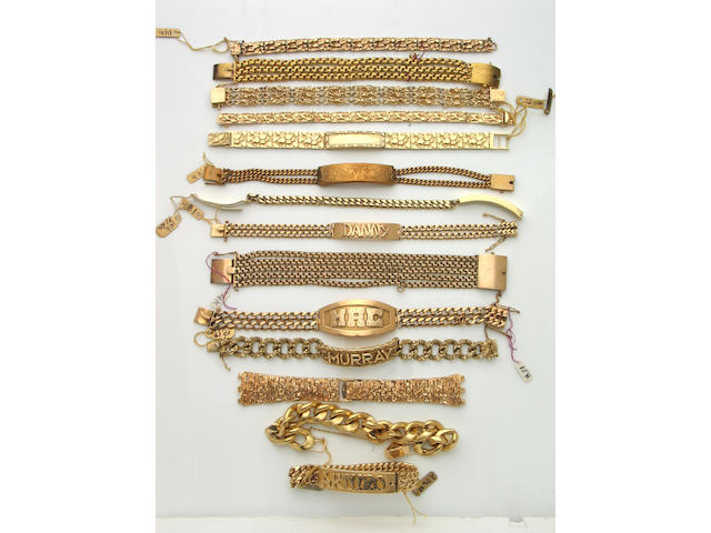 A collection of fourteen 18k and 14k gold bracelets