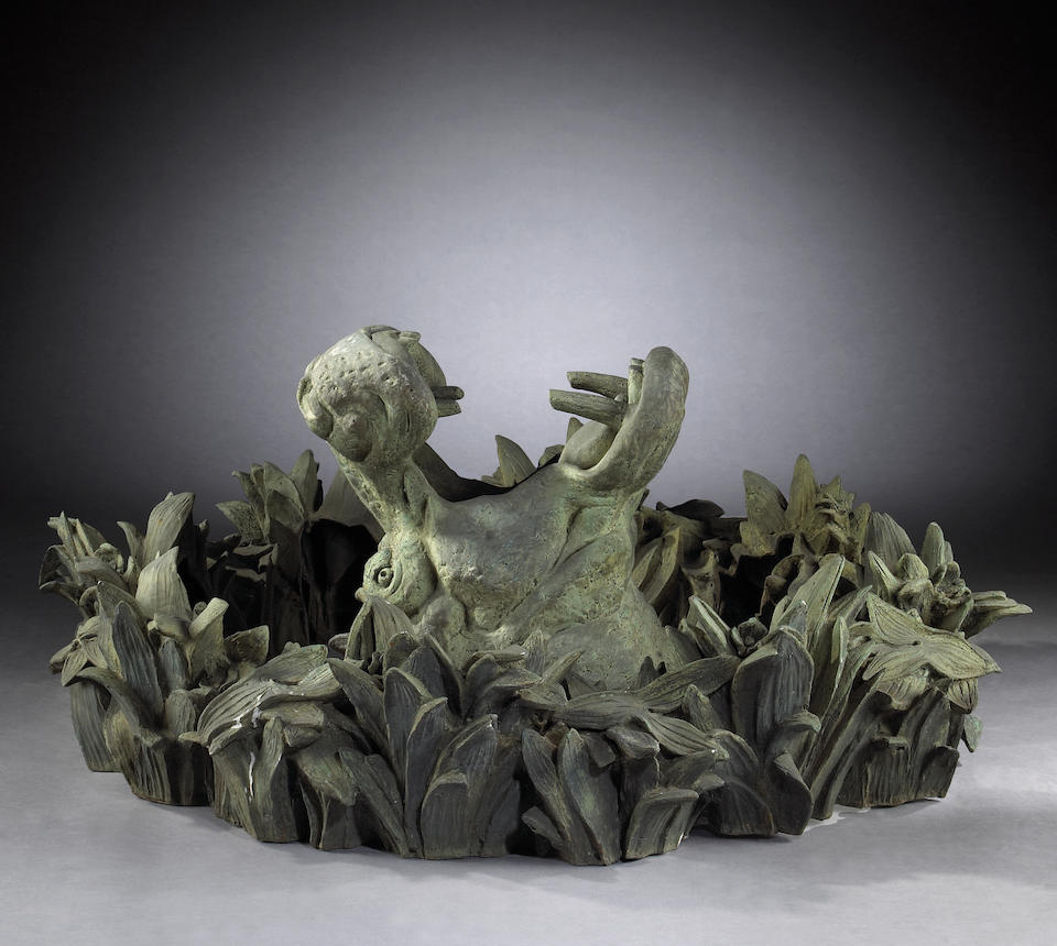 The magnificent and important Widener French patinated bronze figural fountain depicting Tritons and Nereids