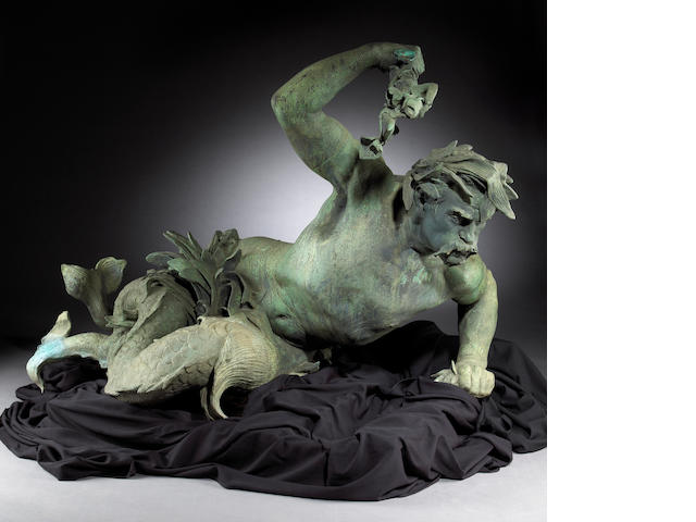 An important French patinated bronze figural fountain depicting Tritons and Neirids, Henri-Leon Greb